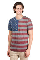 Brooklyn Surf Men's American Flag T-Shirt Marl Jersey Stars Stripes Tee S-4XL
