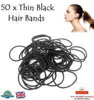 SOPHIE Set of 50 BLACK THIN Snag Free Endless Hair Elastics Bobbles Hair Bands