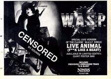 "6/2/88pg26 Single Advert 7x10"" Wasp, Live Animal"