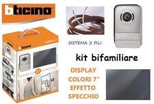 """VIDEOCITOFONO BTICINO BIFAMILIARE 317013 KIT A COLORI 7"""" LUCE LED SPECCHIO 2FILI"""