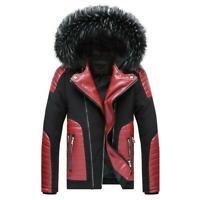 Men Winter Hooded Zipper Coat Padded Leather Jacket Fur Collar Detachable Skiing