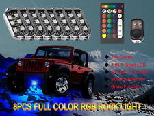 8x LED Rock Light Under Body Underglow LED Lighting Kit RGB RF Remote Control
