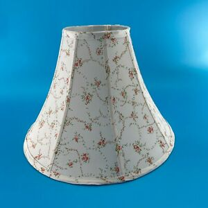 Large Lamp Shade French Country Chic Floral Red Lined 12'' x 16'' x  6''