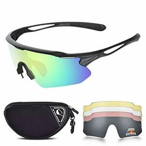 Snowledge Cycling Glasses for Men Women with 5 Interchangeable Lenses,TR90...