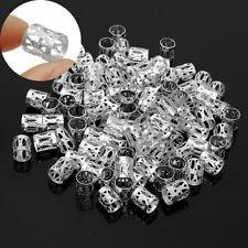 100 x Silver Tone Beard Rings Viking Celtic 8mm Hole Mix Dreadlock Dread Beads