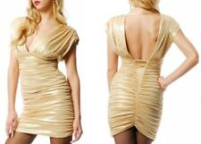 bebe SHIRRED RUCHED DRAPED GOLD METALLIC GODDESS V-NECK EVENING PARTY DRESS~XS