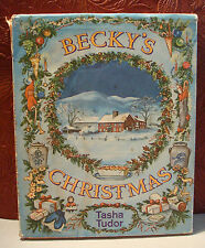 Becky's Christmas by Tasha Tudor First Edition 4th Print HCDJ 1967