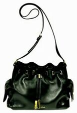 MICHAEL KORS SHOULDER BAG BLACK LEATHER GOLD HW DRAWSTRING POCKETS