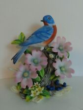 Eastern Blue Birds by Andrea, Blue Bird Figurine, Flowers and Eastern Blue Bird