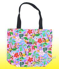Large Hawaiian Print Tote Bag w/Top Zipper  - 313Purple
