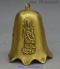 Chinese Buddhism Collect Fengshui Brass Kwan-Yin GuanYin Statue bell Chung zhong