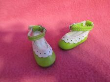 "1-3/4"" GREEN WHITE MARY JANE DOLL SHOES REBORN OOAK ART BJDS CLOTHING ACCESSORY"