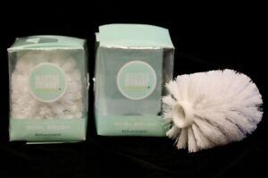 new Martha Stewart WHITE toilet bowl brush head REPLACEMENT LOT 2 polypropylene