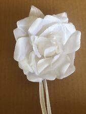 "4""  White  Rose Flower Brooch Pin, Corsage, Rockabilly, Bridal  , Gr19"