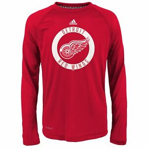adidas NHL Boys Youth (8-20) Detroit Red Wings Climalite Long Sleeve Tee, Red