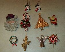 Huge Lot Of 8 Christmas Holiday Pins & Pair of Earrings, Collectible Assortment!