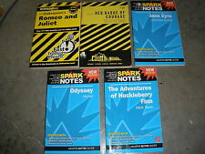 lot of 5 Spark Cliff Notes Odyssey, Huck Finn, Romeo Juliet, Jane Eyre, Badge Co