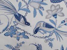 Schumacher Curtain Fabric 'CAMPAGNE' 1.7 METRES 170cm Bleu & Gris - Linen Blend