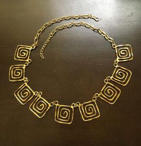 Hammered Retro Greek Key Necklace
