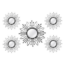 Silver Set of 5 Mirrors Hanging Interior Wall Art Home Decor