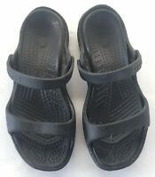 Crocs Size 7 Womens Shoes Slip On Flats Black Dual Strap