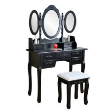 Black Tri-Folding Mirror Vanity Set 7 Drawers Dressing Table Makeup Desk & Stool