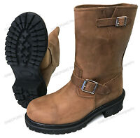 NIB Men's Engineer Boots Motorcycle Biker, Full Grain Brown Leather Riding Sizes