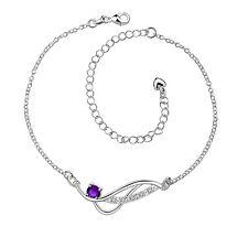 Anlet Bracelet Adjustable Free Gift Bag 925 Sterling Silver Purple Crystal Wave