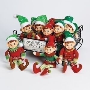 "Roman Christmas Retro Pixie Elf Ornament Liight Green Hat 12"" New  30506"