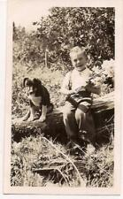 Cute Little Boy Holds Bouquet Of Flowers Sitting On Log By Puppy Dog 1937 Photo