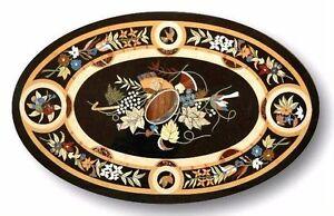 "36"" x 24"" Black Marble Center Table Top Pietra Dura Inlay Work"
