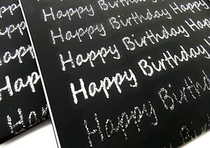 Black Happy Birthday Gift Wrap Wrapping Paper 2 Sheets 2 Tags Silver Glitter