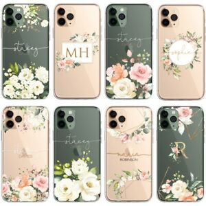 Floral PERSONALISED CLEAR Initials Name Phone Case Cover for iPhone Samsung Gold