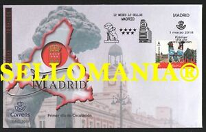 2018 MADRID 12 MONTHS 12 STAMPS OSO Y MADROÑO PUERTA ALCALA 5187 SPD FDC TC23707