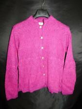 Raffa L Pink Purple Alpaca Cardigan Sweater Button Front Peru Floral Knit Lg