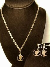 Vintage WW2 Trench Art Cut Out Mercury Dimes Necklace & Screwback Earring Set