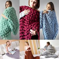 New Handmade Chunky Knitted Blanket Wool Thick Line Yarn Merino Throw Home Decor