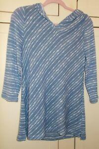 Chico's ~WOMEN'S~ Blue~Open Weave~Knit Tunic Top/Sweater W/ Hood~3/4 Sleeve~SZ~1
