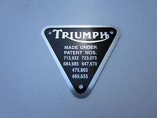 TRIUMPH 650 TWIN TR6 T120 TIMING COVER PATENT PLATE BADGE TIGER BONNEVILLE