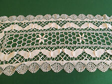 "New * 100% Cotton Hand Made Cluny Bobbin Lace Runners * Beige * 16 X 36"" Oblong"