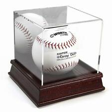 New Deluxe Cherry Wood Base Softball Display Stand Case