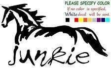"Horse Junkie Funny Vinyl Decal Sticker Car Window laptop tablet truck bumper 7"""