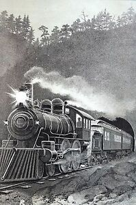 McLoughlin Bros. 1903 LOCOMOTIVE TRAVELING on TRAIN TRACK CONDUCTOR Matted Print