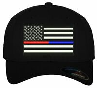 Thin Blue/Red USA Flag Design Embroidered Ball Cap
