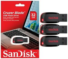 Lot Of 3 Sandisk CRUZER BLADE 32GB SDCZ50 USB 2.0 Flash Drive 32 GB NEW Micro