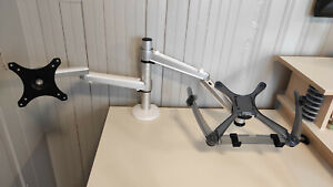 Monitor and Laptop Mount, 2-in-1 Adjustable Dual Arm Desk Mount by 1inchome