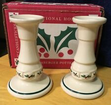 2 Longaberger Holly Woven Traditions Christmas 5� Candle Holders/Candlesticks