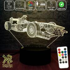 F1 FORMULA ONE RACING CAR  3D LED BATTERY USB NIGHT LIGHT 7 COLOUR'S + REMOTE