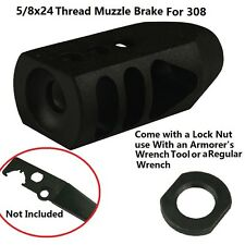 5/8x24 Thread Tanker Style Muzzle Brake for 308 .308 .338 7.62 With jam nut