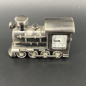 Vintage Train Engine Locomotive Pewter Conductor ▬ Quartz Desk Shelf CLOCKEUC